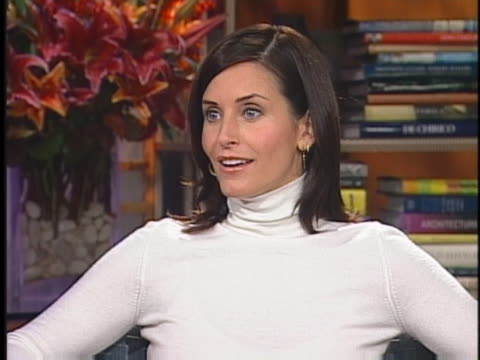 """in an interview, """"friends"""" star courteney cox arquette speaks about the tv show. - television show stock videos & royalty-free footage"""