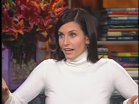 """in an interview, """"friends"""" star courteney cox arquette speaks about the tv production. - television show stock videos & royalty-free footage"""