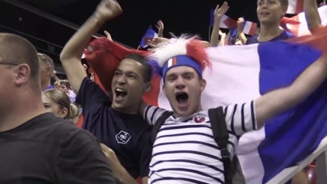 in antoine griezmann's hometown macon football fans express their joy and admiration for the french team after their 42 victory against croatia - hometown stock videos and b-roll footage