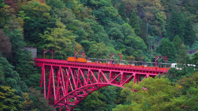 vídeos y material grabado en eventos de stock de ferrocarril del gorge kurobe en temporada de otoño, toyama, japón. - vehículo comercial terrestre