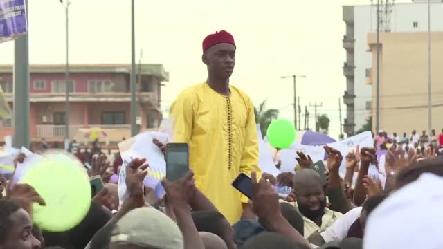 in cameroon opposition candidate cabral libii holds his last campaign rally in the capital yaounde one day before the presidential elections on... - last stock videos & royalty-free footage
