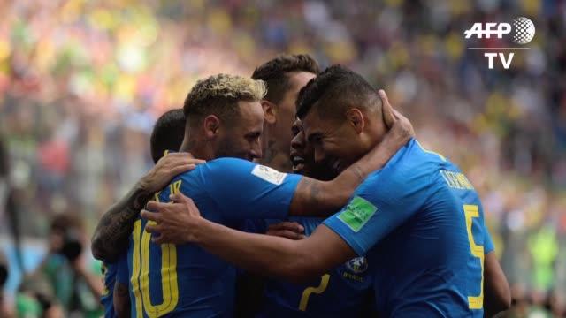 asi se salvo la seleçao al vencer el viernes 20 a costa rica gracias a un gol de philippe coutinho y otro de neymar en el descuento que dejaron a los... - neymar da silva stock-videos und b-roll-filmmaterial