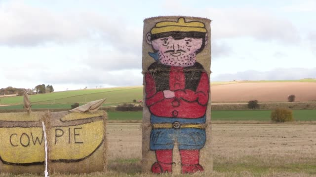 vídeos y material grabado en eventos de stock de in field near dundee, scotland. they are celebrating the beano's 80th anniversary. the charcters are minnnie the minx, gnasher, dennis the menace,... - dundee escocia