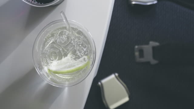 In Flight Alcoholic Drink on Tray