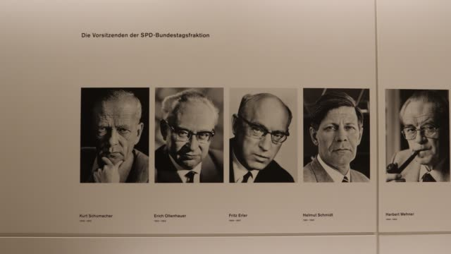 In front of the entrance to the parliamentary hall are the portraits of all SPD Faction leaders in their history at the Reichstag Kurt Schumacher...