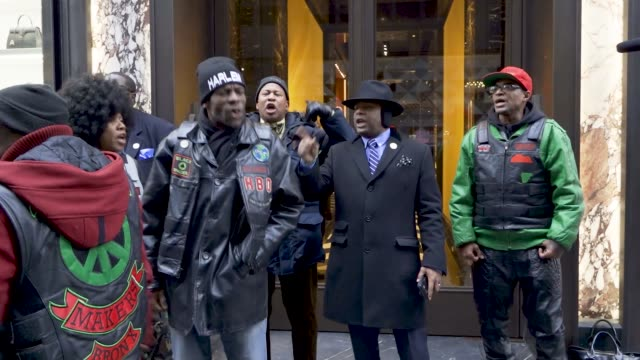 In front the 650 Madison Ave Moncler retail store The civil rights organization National Action Network along with clergy leaders community leaders...