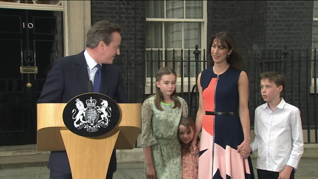 in his final speech as prime minister david cameron thanks his family before saying his only wish is continued success for this great country - david cameron politician stock videos & royalty-free footage