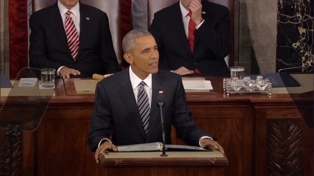 in his final state of the union address president barack obama praises the wide varieties of americans who contribute to national fabric give him... - soldato video stock e b–roll
