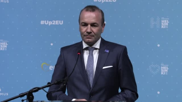 in his first press conference after his nomination as epp lead candidate for the european elections germany's manfred weber discusses hungary poland... - populism stock videos and b-roll footage