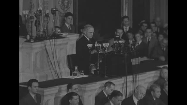 in his first speech as us president harry s truman speaks at rostrum in the house of representatives chamber speaker of the house sam rayburn and... - sam rayburn stock videos and b-roll footage