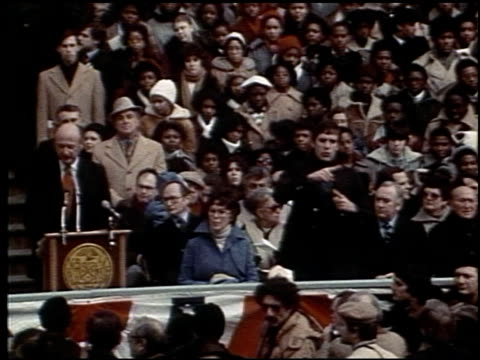 in his inaugural speech edward irving ed koch states new york is not a problem it is a stroke of genius ed koch mayoral inauguration speech on... - new york stato video stock e b–roll
