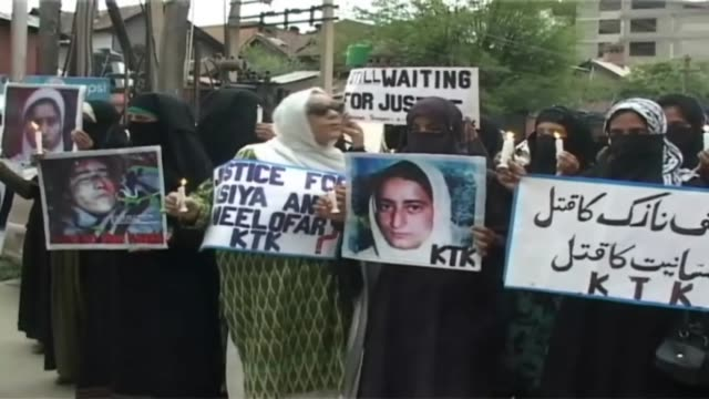 in indian controlled kashmir one among the female separatist group kashmir muslim khawateen headed by zamrooda habib staged a protest in summer... - sexual violence stock videos and b-roll footage