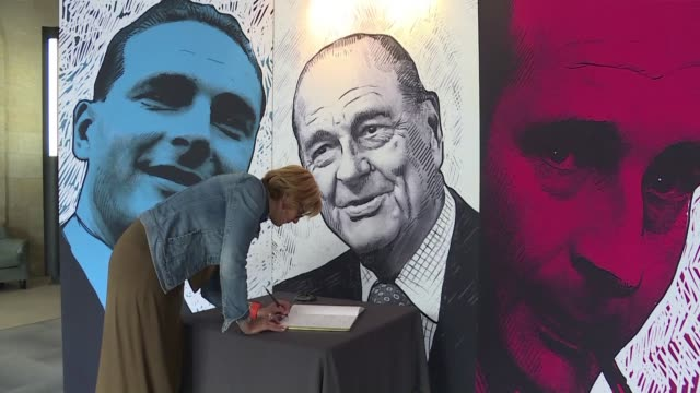 in jacques chirac's correze constituency a huge photo is displayed on the façade of the general council building in tulle as a tribute to the late... - tulle stock videos and b-roll footage