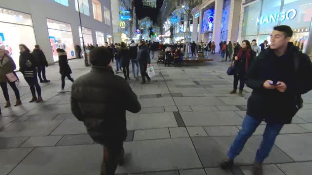 pov in kaerntnerstrasse - pedestrian walkway stock videos & royalty-free footage