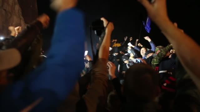 tu in kharkiv – ukraine's secondlargest city antirussian protesters pulled down and destroyed a 28 feet tall statue of lenin a crowd that had... - statue stock videos and b-roll footage