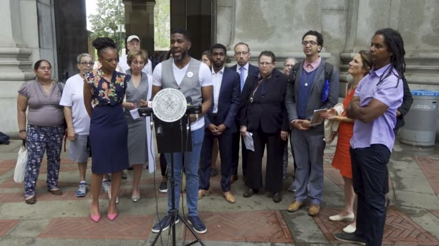 in light of mental health awareness week public advocate jumaane d williams held a press conference at 1 centre street south in the civic area of... - local government building stock videos & royalty-free footage