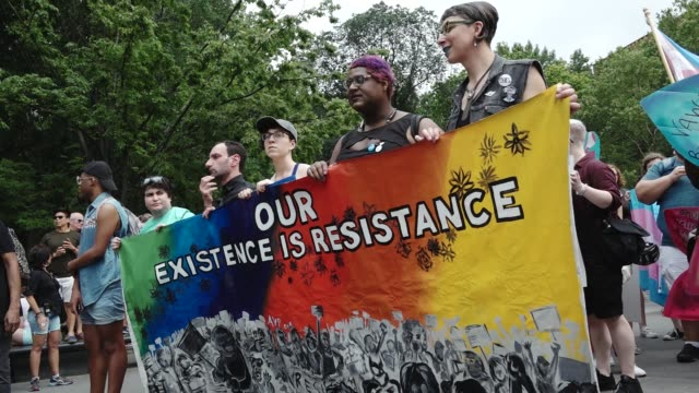 In light of Pride Month and the upcoming Gay Pride March in New York City hundreds gathered from the LGBT community at Washington Square Park in...