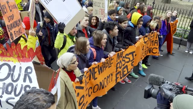 in light of the climate discussions by world leaders at the united nations cop 25 in madrid, spain, nyc school students rallied in the civic area in... - individual event stock videos & royalty-free footage