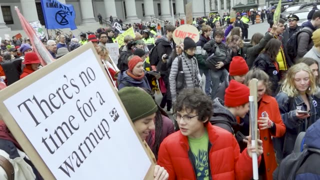 in light of the climate discussions by world leaders at the united nations cop 25 in madrid spain nyc school students rallied in the civic area in... - activist stock videos & royalty-free footage