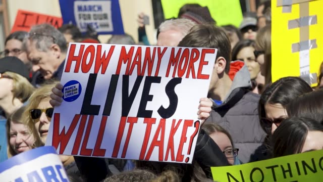 in light of the deadly mass shooting at marjory stoneman douglas high school in parkland, florida, a massive rally and march was held in new york... - march for our lives stock videos & royalty-free footage