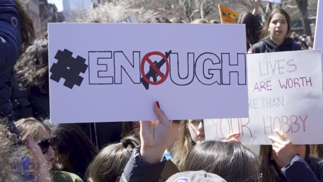 in light of the deadly mass shooting at marjory stoneman douglas high school in parkland florida and other related gun violence incidents high school... - protesta contro la violenza armata video stock e b–roll