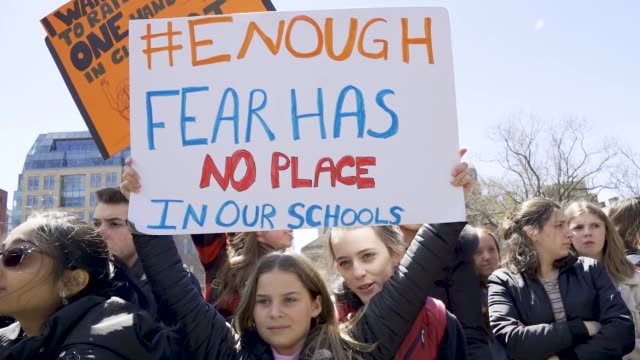 in light of the deadly mass shooting at marjory stoneman douglas high school in parkland florida and other related gun violence incidents high school... - controllo delle armi da fuoco video stock e b–roll