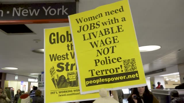 in light of the international women's day women rallied in front of pennsylvania station in midtown manhattan and proceeded to march inside penn... - women's issues stock videos & royalty-free footage