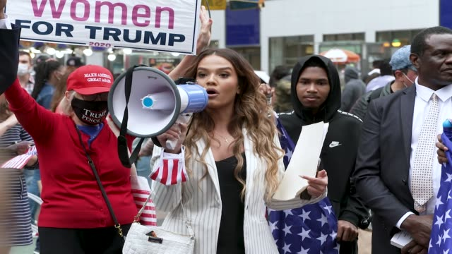 in light of the november 3, 2020 presidential election maga president donald trump supporters rally midtown manhattan's herald square, new york city... - latin american and hispanic ethnicity stock videos & royalty-free footage