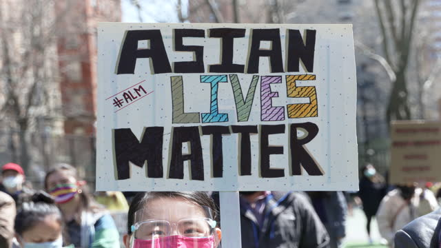 in light of the recent rise in anti-aapi hate crimes a #stopasianhate rally is held in columbus park, downtown manhattan on april 03, 2021. - furious stock videos & royalty-free footage