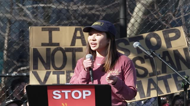 in light of the recent rise in anti-aapi hate crimes and in response to the attack in atlanta, georgia, a large crowd gathers in manhattan... - east asian ethnicity stock videos & royalty-free footage