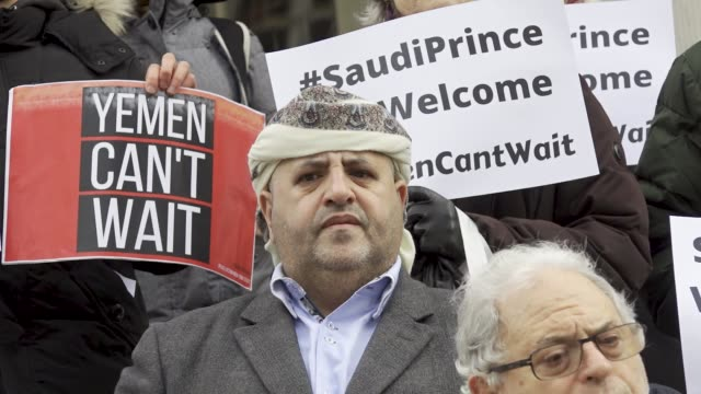 in light of the saudi crown prince mohammed bin salman visit the white house on march 20 2018 demonstrators rallied at city hall in downtown... - united states congress video stock e b–roll