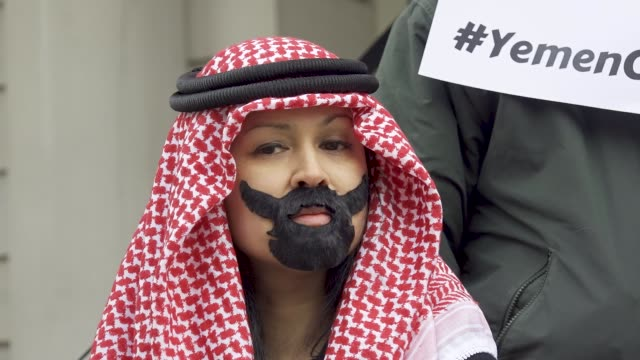 in light of the saudi crown prince, mohammed bin salman, visit the white house on march 20, 2018 demonstrators rallied at city hall in downtown... - prince stock videos & royalty-free footage