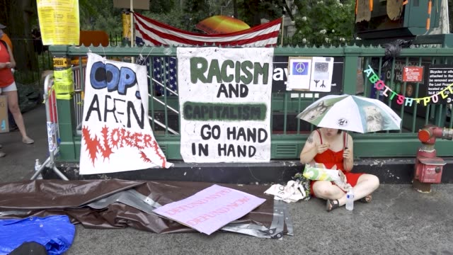 in light of the worldwide protests sparked by the death of george floyd, demonstrators rallied at city hall park in downtown manhattan demanding the... - around the fair n.y stock videos & royalty-free footage