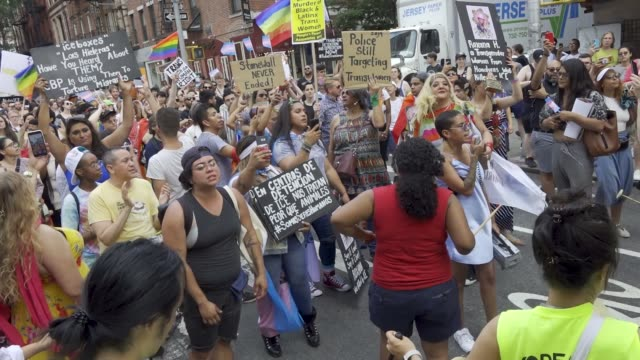 stockvideo's en b-roll-footage met in light of world gay pride month transgender women and gender non-conforming rallied in washington square park in the west village to protest the... - non us film location