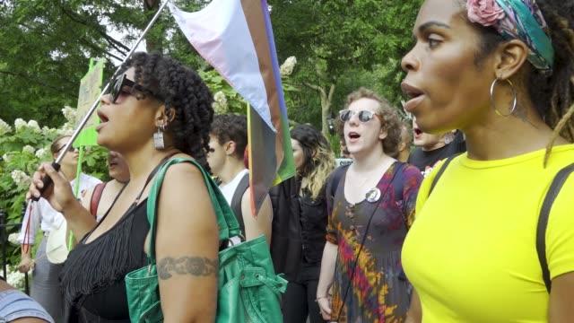 in light of world gay pride month transgender women and gender non-conforming rallied in washington square park in the west village to protest the... - non us film location bildbanksvideor och videomaterial från bakom kulisserna