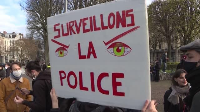 in lille, nothern france, several hundred people gather to protest against police violence and the controversial bill on 'global security' that could... - law stock videos & royalty-free footage