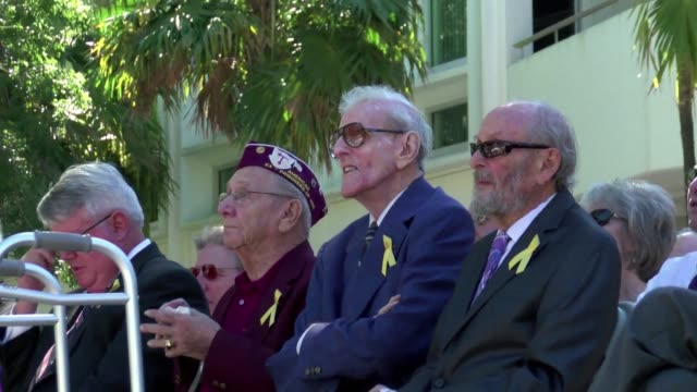 in miami the french government awards medals of the chevalier dans lordre national de la legion dhonneur to american veterans who fought alongside... - ordre stock videos and b-roll footage