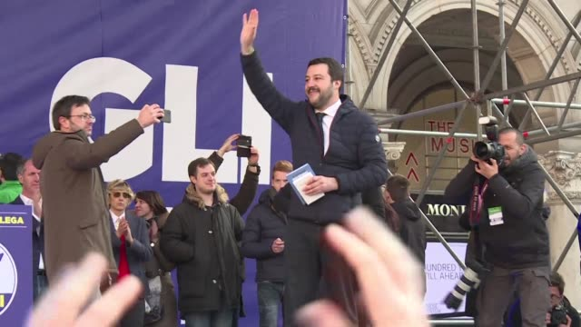 in milan about 15000 people according to a police source gather for a campaign rally for matteo salvini and his far right league party an ally of the... - distant stock videos & royalty-free footage