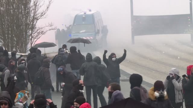 in nantes an estimated 20,000 people took to the streets to protest against the french government's planned pension reforms - nantes stock videos & royalty-free footage