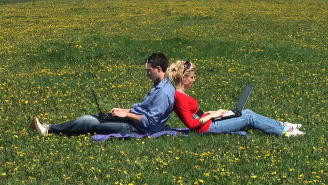 hd :自然の中でのお仕事には、ノートパソコン - 床に座る点の映像素材/bロール