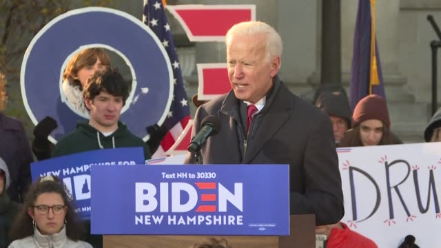 in new hampshire supporters of joe biden see a balanced and realistic candidate in the former vice president saying the country needs change but... - political rally stock videos & royalty-free footage