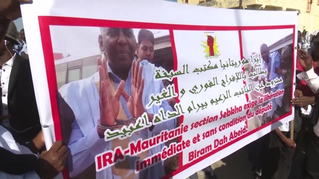 in nouakchott protesters take to the streets as the trial of mauritanian member of parliament and anti slavery campaigner biram dah abeid gets under... - nouakchott stock videos & royalty-free footage