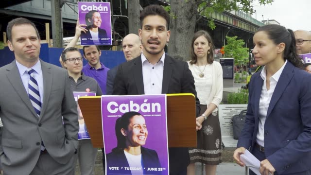 in nyc corona queens tiffany caban gets multiple endorsements during her press conference for queens district attorney @cabanforqueens #tiffanycaban... - political action committee bildbanksvideor och videomaterial från bakom kulisserna