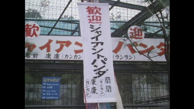 in october 1972 in tokyo ueno zoo hung a vertical banner for the first giant panda exhibition in japan - パンダ点の映像素材/bロール