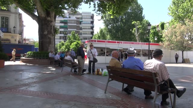 vídeos de stock e filmes b-roll de in plaza del campillo in the centre of historic granada the trees cast enough shadow to make sitting on the benches comfortable in the spring... - pátio
