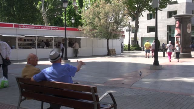 in plaza del campillo in the centre of historic granada the trees cast enough shadow to make sitting on the benches comfortable in the spring... - städtischer platz stock-videos und b-roll-filmmaterial