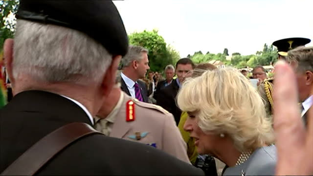 in ranville in france crowds watched 300 paratroopers drop over the first village liberated by the allies they were later joined by prince charles... - principe carlo principe del galles video stock e b–roll