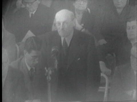 in remarks before the british parliament, former british prime minister clement attlee denounces communism, saying it succeeds where conditions are... - 1954 stock videos & royalty-free footage