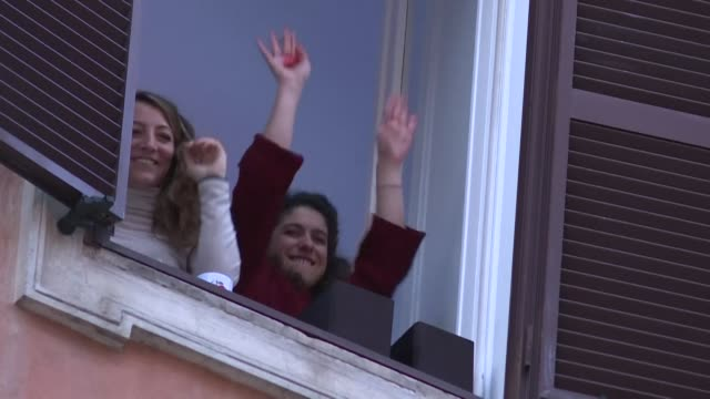 in rome italians take to their balconies to sing together and boost morale as the country spends its first weekend under lockdown in a bid to contain... - balcony stock videos & royalty-free footage