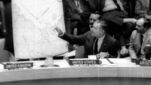 in security council debate in new york ambassador henry cabot lodge jr gives the lie to soviet charges that the rb47 reconnaissance jet shot down by... - 冷戦点の映像素材/bロール